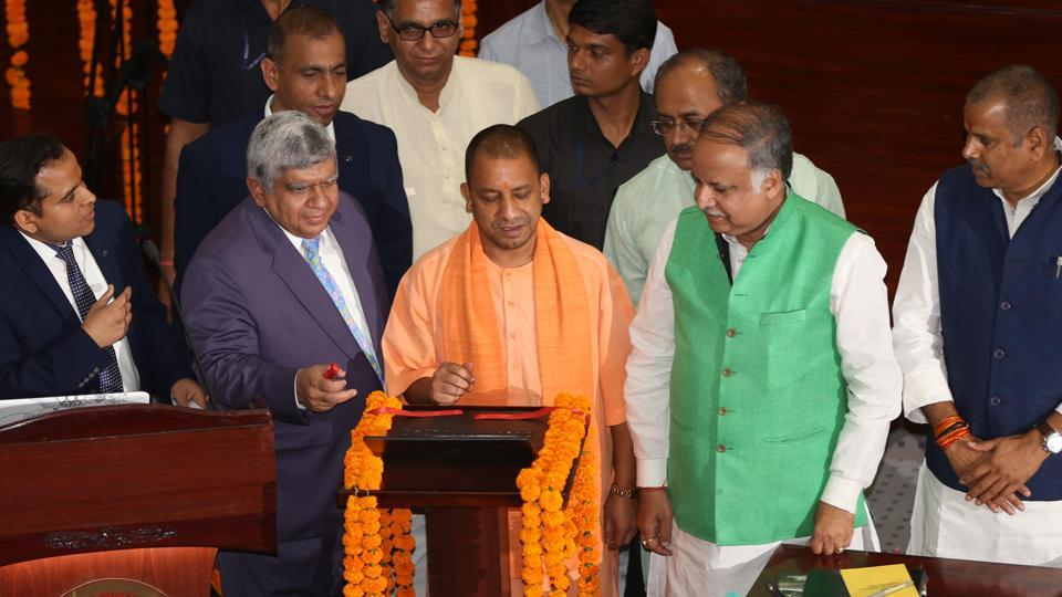 CM Yogi Adityanath dedicating the ventilators to the public on Wednesday.