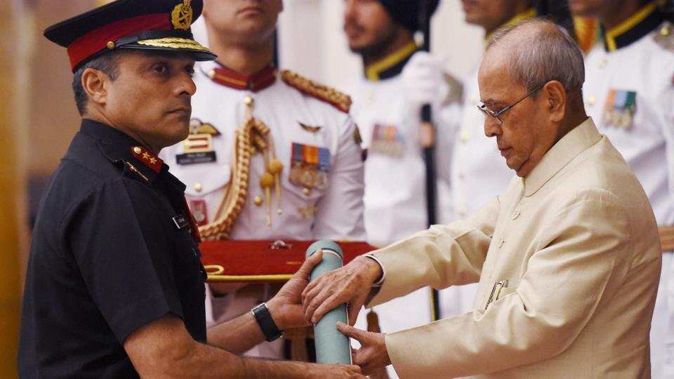 President Pranab Mukherjee on Thursday awarded Shaurya Chakras to the officers who took part in the daring surgical strike across the Line of Control last year.