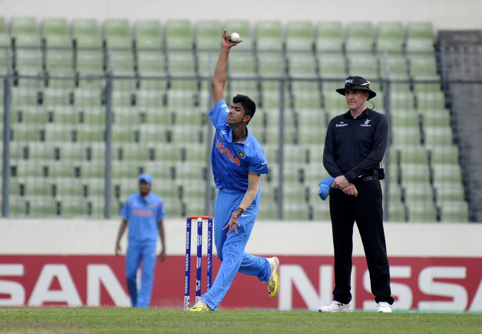 Washington Sundar bowls during the ICC U-19 World Cup final between India and West Indies on February 14, 2016 in Dhaka. The Tamil Nadu bowler has been roped in by Rising Pune Supergiants for IPL 2017 T20 season.