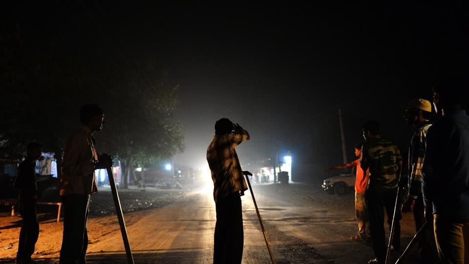 Gau Raksha Dal volunteers stand  guard on a highway in Taranagar in Rajasthan.