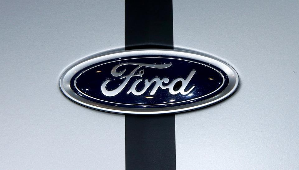 The logo of Ford is seen during the 87th International Motor Show at Palexpo in Geneva, Switzerland.