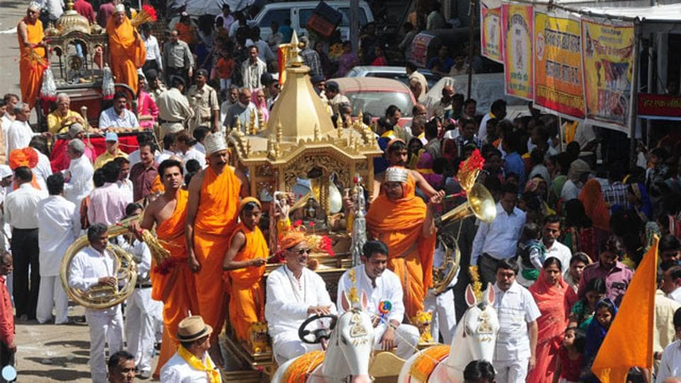 Jains carry out a procession on Mahavir Jayanti in Bhopal in 2015.