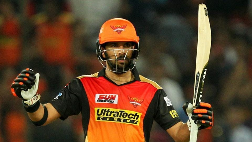 Yuvraj Singh of Sunrisers Hyderabad celebrates his fifty against Royal Challengers Bangalore. (PTI)