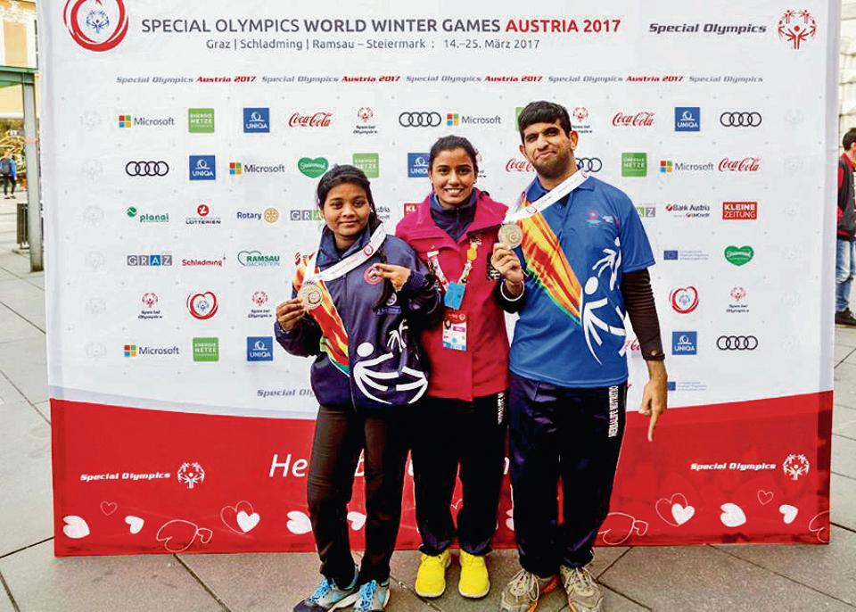 Elice Tirki (left), a special student from Ghaziabad, won the medal for her team in the speed skating event. She has been practising at the ice rink at the Ambience mall in Gurgaon for the past few years.