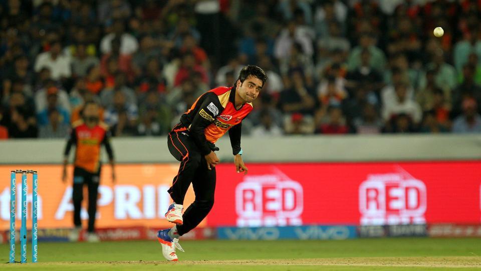 Rashid Khan of Sunrisers Hyderabad during the IPL 2017 opener against Royal Challengers Bangalore on Wednesday.