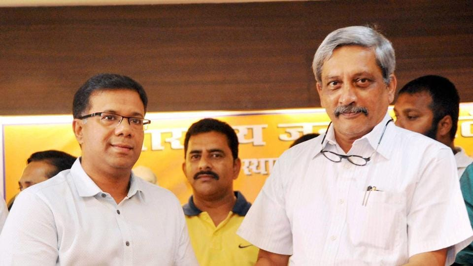 Former Congress minister Vishwajit Rane joins BJP in presence of Goa chief minister Manohar Parrikar at Panaji on Thursday.
