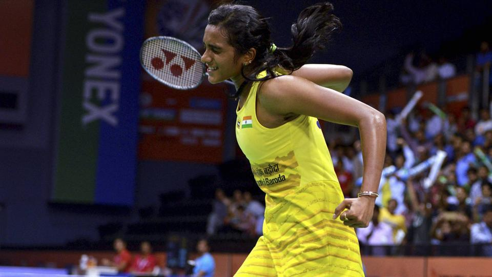 PV Sindhu celebrates her win over Saina Nehwal in the quarterfinal match of the India Open Superseries badminton tournament at the Siri Fort Sports Complex in New Delhi recently.
