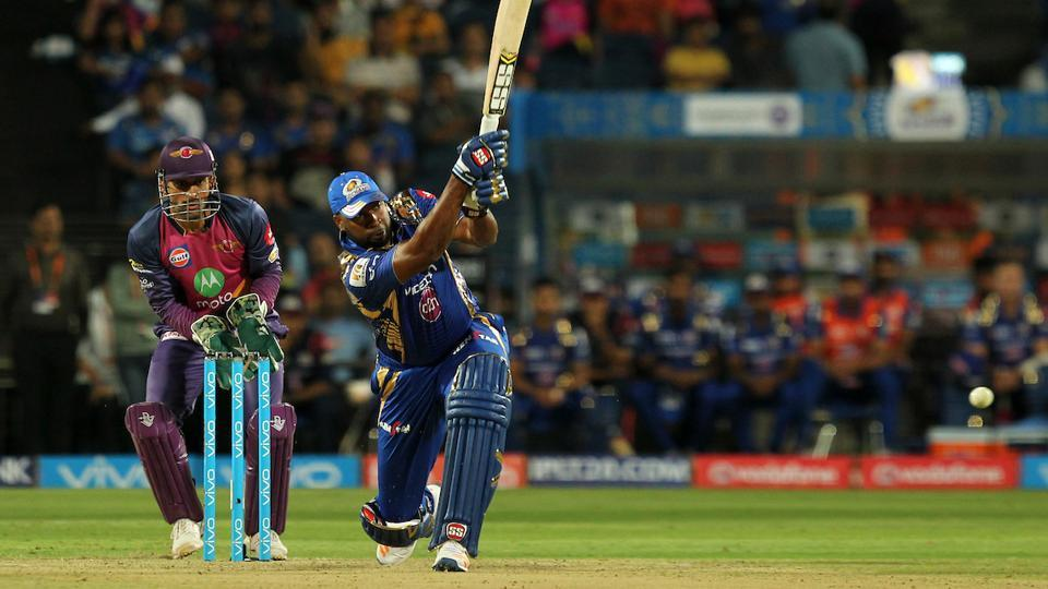 Kieron Pollard of Mumbai Indians plays a shot. (BCCI)