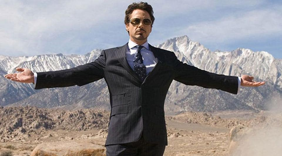 Robert Downey Jr in a still from the first Iron Man movie.