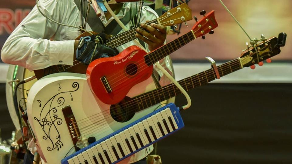From bass drum, snare drum, hi-hat, cymbals, acoustic guitar, harmonica, kazoo to tambourine and ghungroos, he has played it all. (KUnal Patil/ht photo)