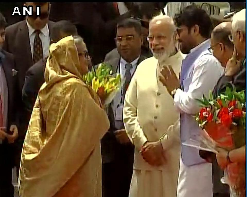 Sheikh Hasina is received by PMModi at the Delhi airport.