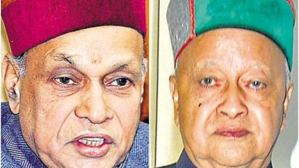 Former Himachal Pradesh chief minister Prem Kumar Dhumal (L) and chief minister Virbhadra Singh.