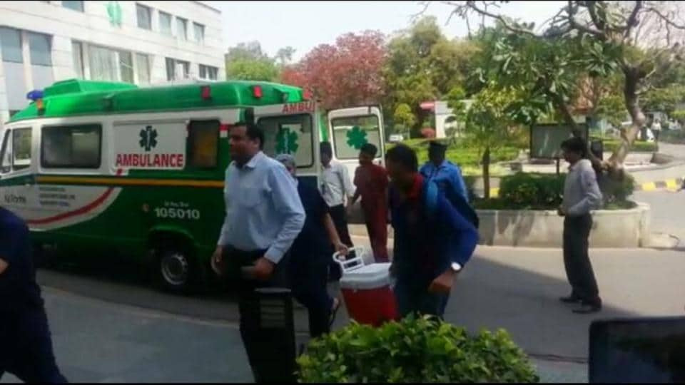 Hospital authorities transport a heart for a transplant procedure on a 13-year-old