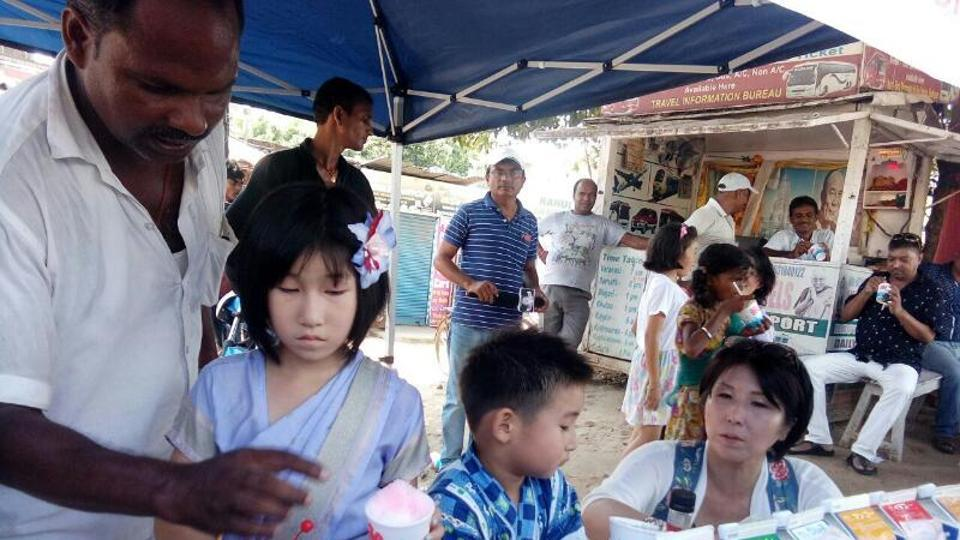 Raising funds for poor kids: Japanese girl Nanai Sugamito at her free dessert stall at Bodh Gaya in Bihar.