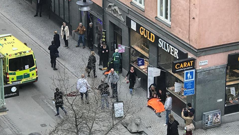 Ambulance in a street near the site were a truck was driven into a crowd in central Stockholm, Sweden April 7, 2017.