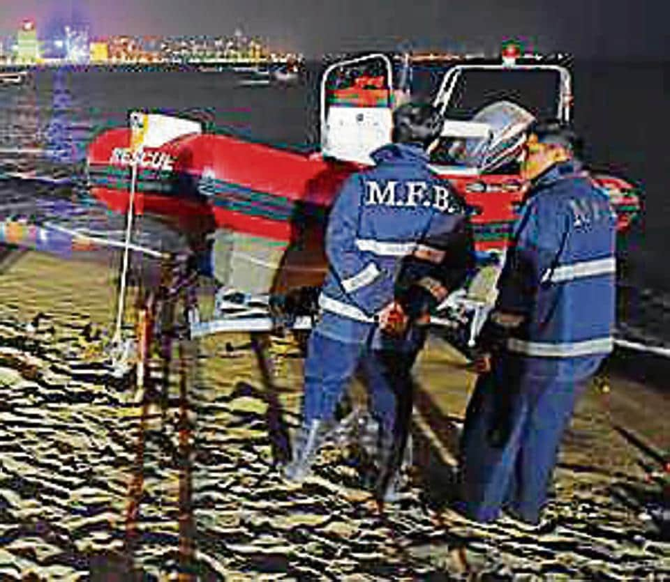 The fire brigade at the beach on Friday night.
