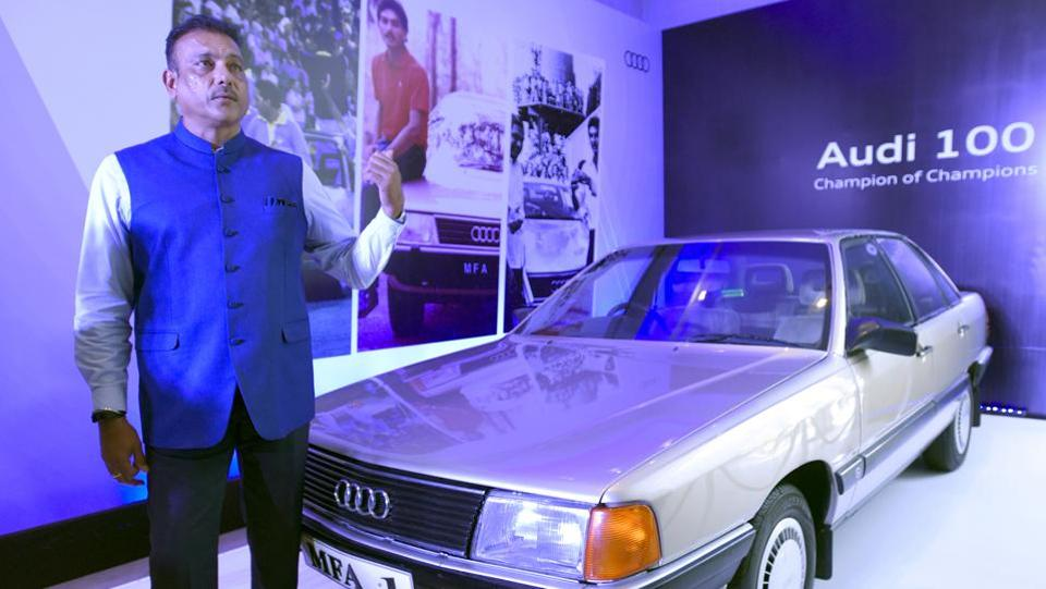 Former Indian cricketer Ravi Shastri stands next to his Audi 100, the car he was awarded during the Champion of the Champions series at the Melbourne Cricket Ground in 1985. (Sonu Mehta/HT PHOTO)