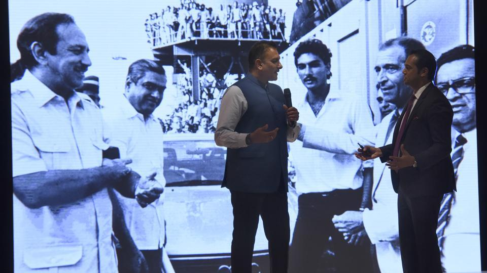 Audi India head Rahil Ansari with former Indian cricketer Ravi Shastri at the launch of Audi A3. (Sonu Mehta/HT PHOTO)