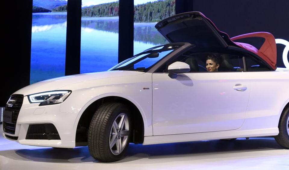 German automaker Audi launched an update of its most affordable sedan, the A3 in India on Thursday. This is the company's fifth launch in India this year. Here's Bollywood actor Nimrat Kaur posing inside a A3 Cabriolet in New Delhi. (Sonu Mehta/HT PHOTO)