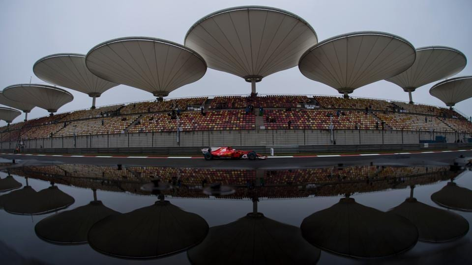 Ferrari's Finnish driver Kimi Raikkonen during the rain-affected first free practice session of the Formula One Chinese Grand Prix in Shanghai on Friday. Max Verstappen of Red Bull recorded the fastest time in first session that was also cut short with Lewis Hamilton and Sebastian Vettel unable to go out on track.