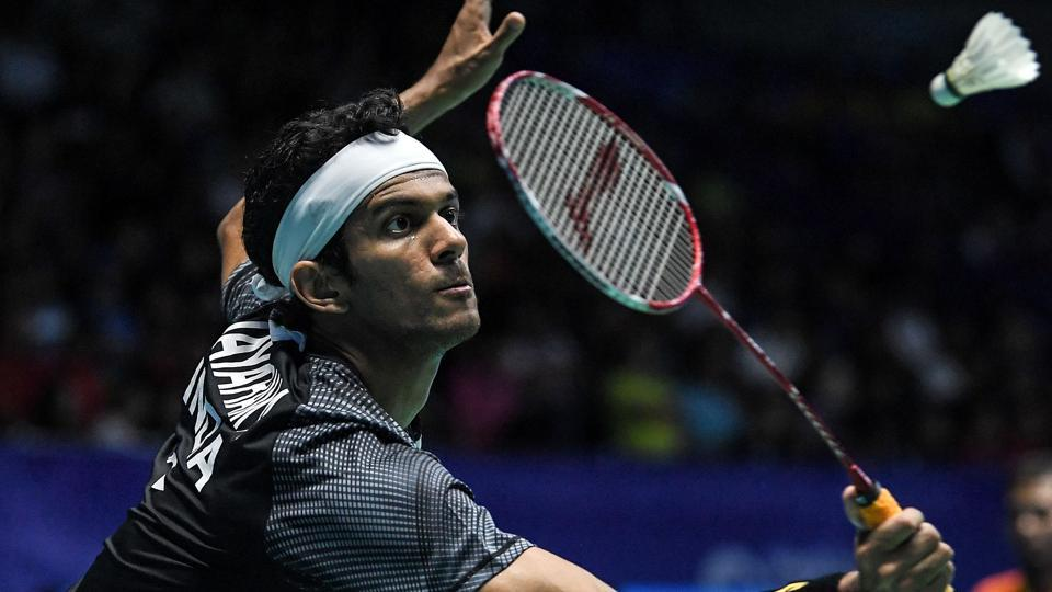Ajay Jayaram hits a return against Son Wan-ho of South Korea during their men's singles quarterfinal match at the Malaysia Open Super Series badminton tournament in Kuching, Sarawak, on Friday.