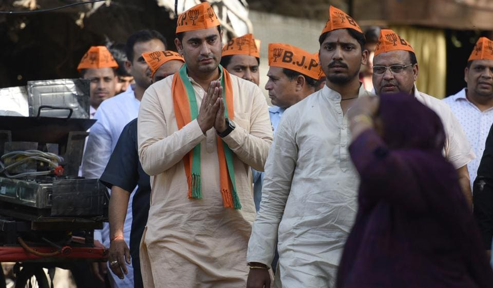 Fahimuddin Saifi, the BJP candidate from Delhi Gate, campaigns in the area. The BJP had given ticket to six Muslim candidates. However, nomination of one of them was rejected.