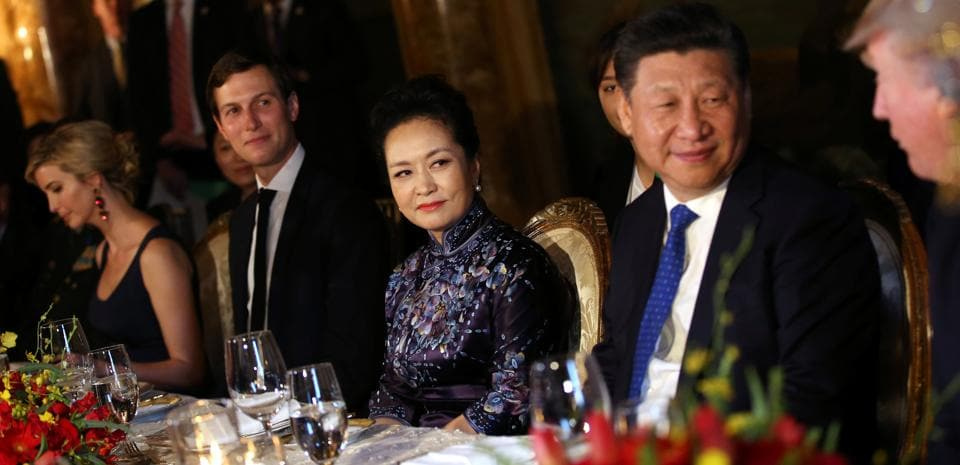 Chinese President Xi Jinping and First Lady Peng Liyuan at the dinner. Trump has often complained Beijing undervalues its currency to boost trade, but his administration looks unlikely to formally label China as a currency manipulator in the near term - a designation that could come with penalties. (Carlos Barria/REUTERS)