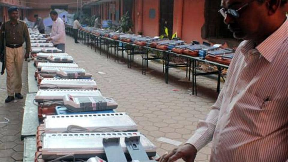 Electronic voting machines being checked ahead of a poll.