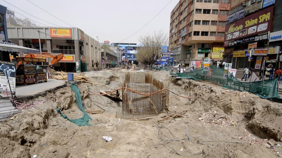 Redevelopment of the Sector 18 market is one of the many projects delayed in Noida.