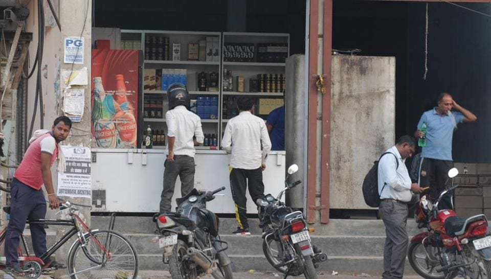 The liquor shop at Gurgaon's Om Nagar that the residents wanted removed.