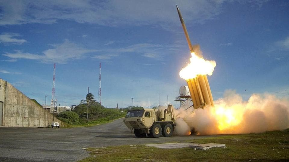A Terminal High Altitude Area Defense (THAAD) interceptor is launched during a successful intercept test, in this undated handout photo provided by the US Department of Defence.