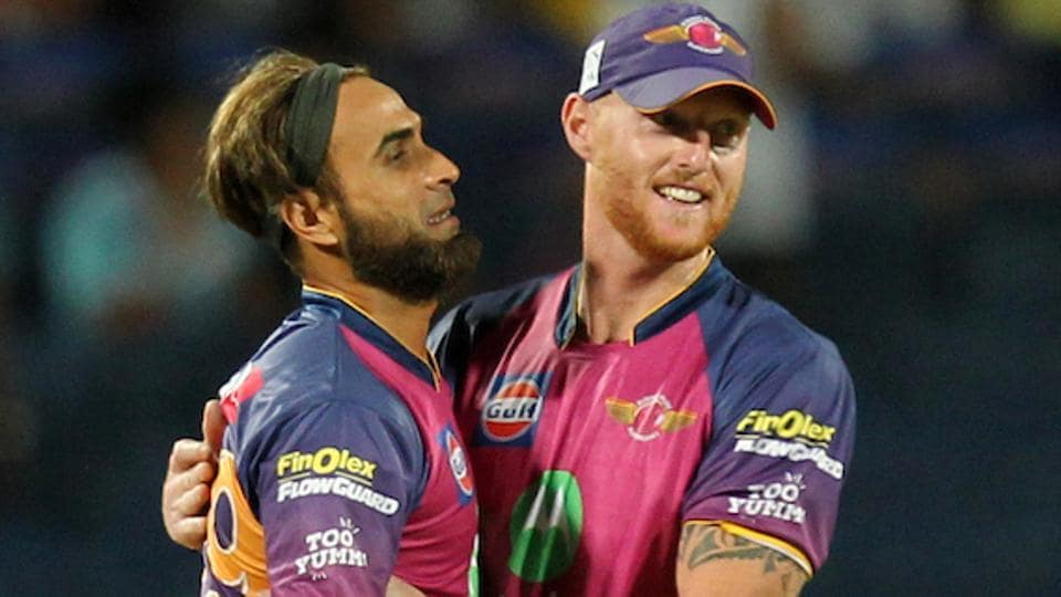 Imran Tahir (L) and Ben Stokes of Rising Pune Supergiants celebrates wicket of Parthiv Patel of Mumbai Indians. (BCCI)