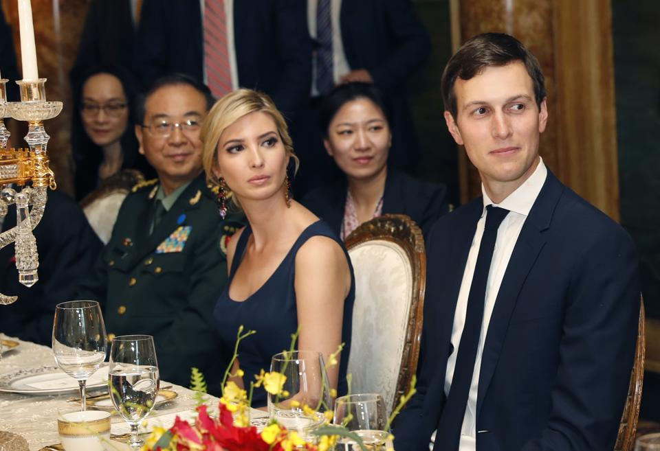 Ivanka Trump, second from right, the daughter and assistant to President Donald Trump, is seated with her husband White House senior adviser Jared Kushner, right, during a dinner with President Donald Trump and Chinese President Xi Jinping. (Alex Brandon/AP)