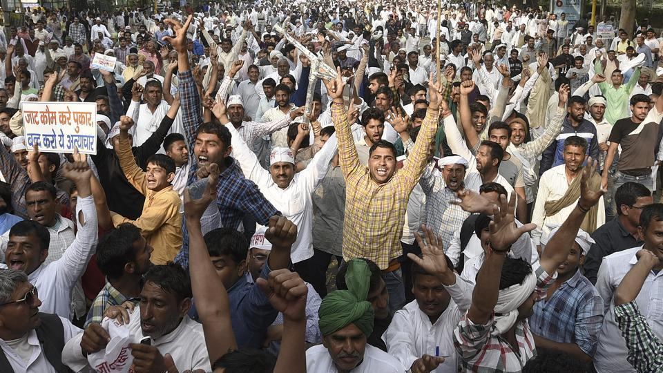 Members of the Jat community carrying out protests in demand for an OBC status.