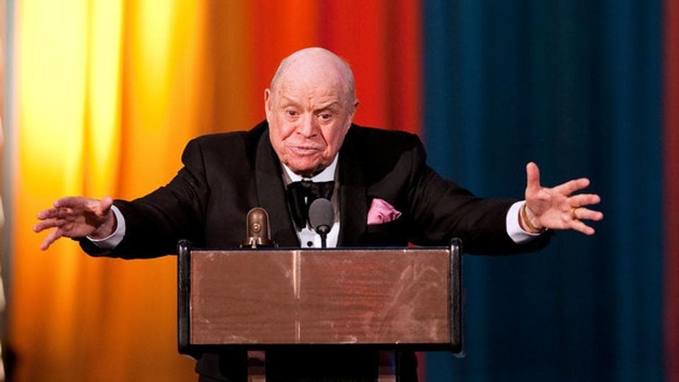 Comedian Don Rickles speaks after receiving the Johnny Carson Award during the second annual 2012 Comedy Awards in New York.