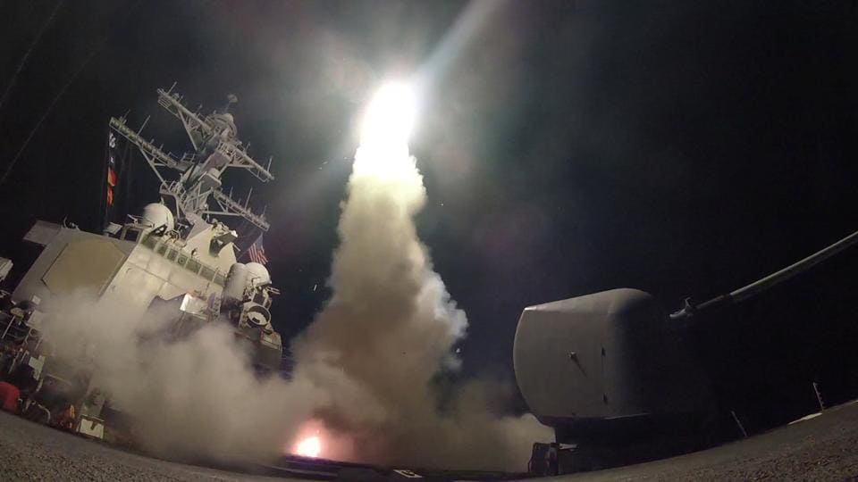 US Navy guided-missile destroyer USS Porter conducts strike operations in the Mediterranean Sea which the Defense Department said was a part of cruise missile strike against Syria.