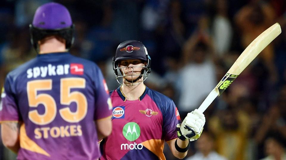 Rising Pune Supergiants batsman Steve Smith celebrates his half century against Mumbai Indians. (PTI)