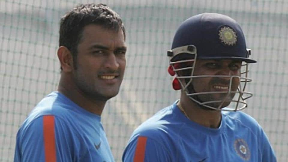 MS Dhoni (L) and Virender Sehwag (R) both have happy memories at the Holkar Stadium in Indore, and will be keen to hit the old high note during the Kings XI Punjab vs Rising Pune Supergiants IPL 2017 T20 match on Saturday.