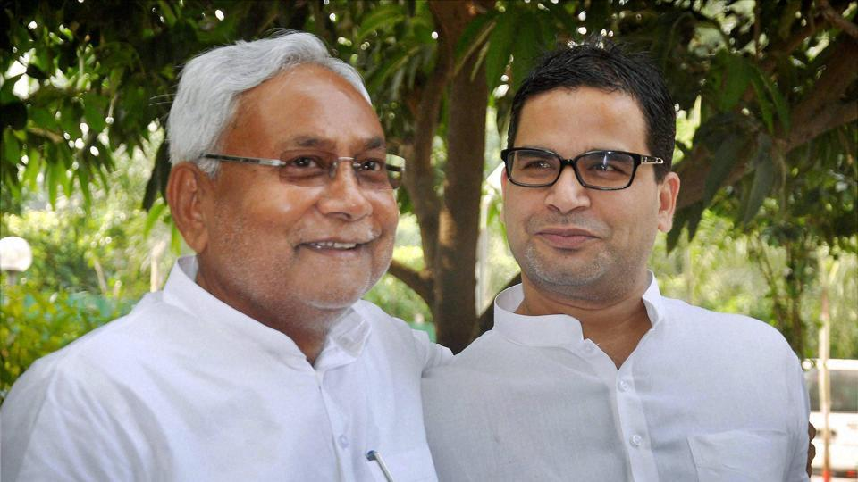 Bihar chief minister Nitish Kumar with his Prashant Kishor after winning the Bihar assembly elections in 2015.