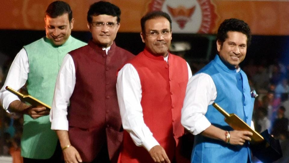 Indian cricket legends Sachin Tendulkar, Sourav Ganguly, Virender Sehwag and VVS Laxman after their felicitation at the opening ceremony of 10th edition of the Indian Premier League in Hyderabad on Wednesday. Sehwag is Kings XI Punjab team mentor.