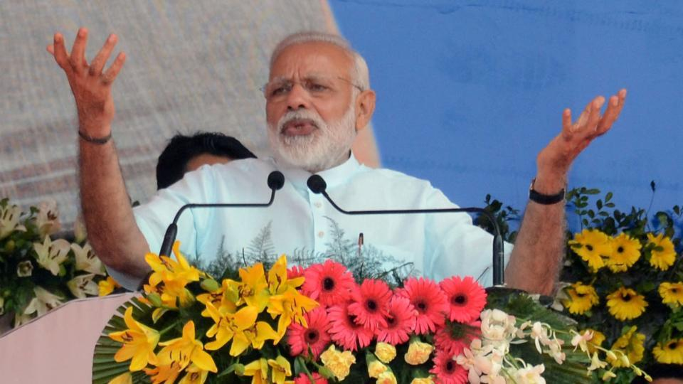 Prime Minister Narendra Modi addressing a select gathering after laying the foundation stone of multi-modal terminal and four lane bridge on the Gange river in Sahebgan on Thursday