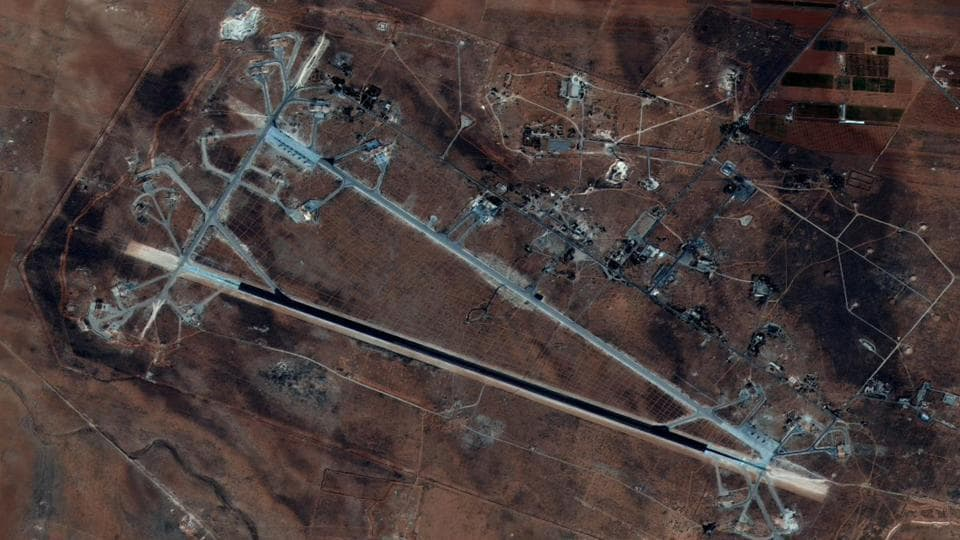 Shayrat Airfield in Homs, Syria is seen in this DigitalGlobe satellite image released by the US Defence Department on April 6 after announcing US forces conducted a cruise missile strike against the Syrian Air Force airfield.