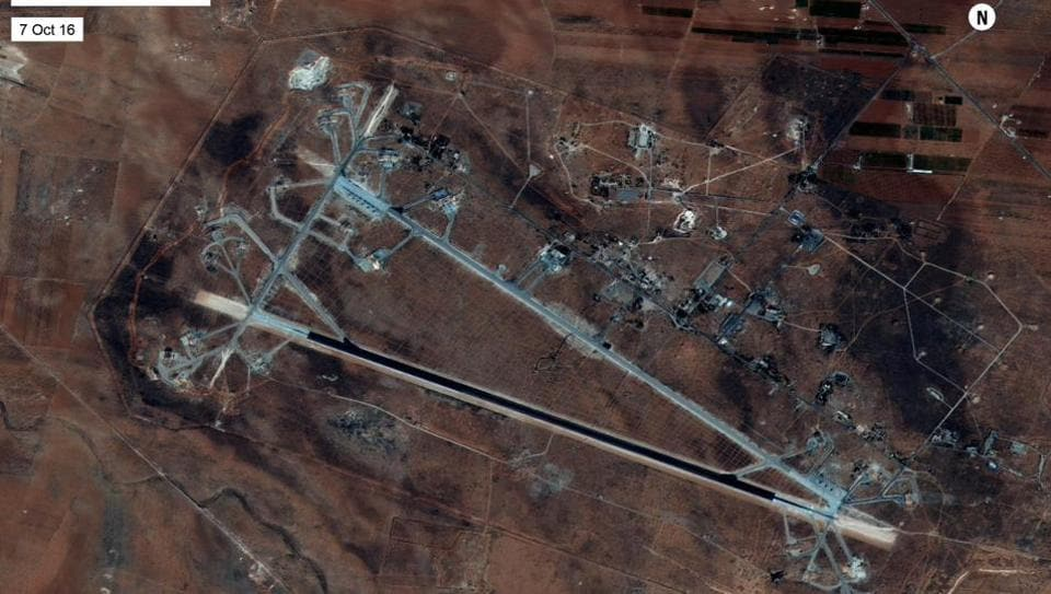 Shayrat Airfield in Homs, Syria, is seen in this DigitalGlobe satellite image released by the US Defense Department on April 6, 2017 after announcing US forces conducted a cruise missile strike against the Syrian Air Force airfield.