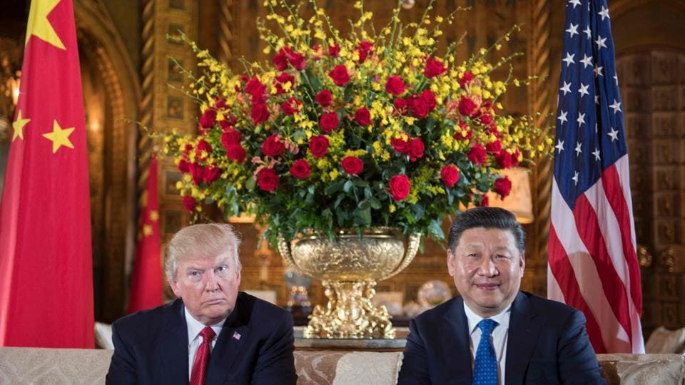 US President Donald Trump (L) sits with Chinese President Xi Jinping (R) during a bilateral meeting at the Mar-a-Lago estate in West Palm Beach, Florida. (Jim Watson/AFP)