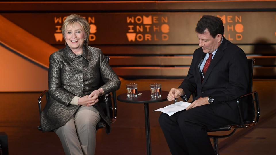 Former US secretary of state Hillary Clinton and journalist Nicholas Kristof at the Eighth Annual Women in the World Summit at the Lincoln Center for the Performing Arts in New York City.
