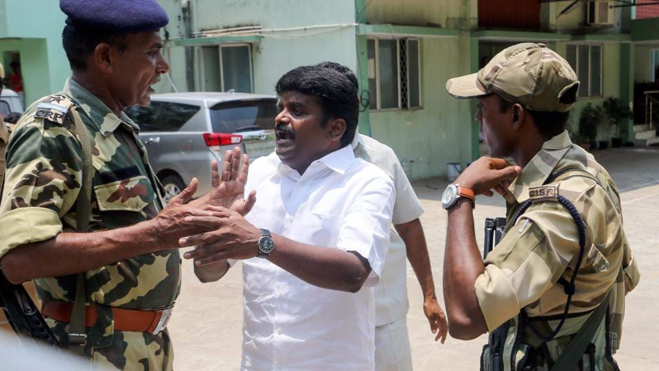 Tamil Nadu Health Minister Vijaya Baskar in an argument with the CRPF personnel during a raid at his residence by the Income Tax department in Chennai on Friday. The IT sleuths raided his house and various other places.