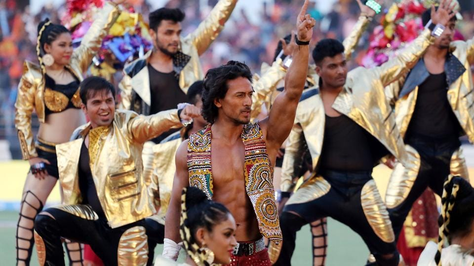 Bollywood actor Tiger Shroff performs before the start of the Indian Premier League between the Gujarat Lions and the Kolkata Knight Riders at the Saurashtra Cricket Association Stadium in Rajkot on Friday.