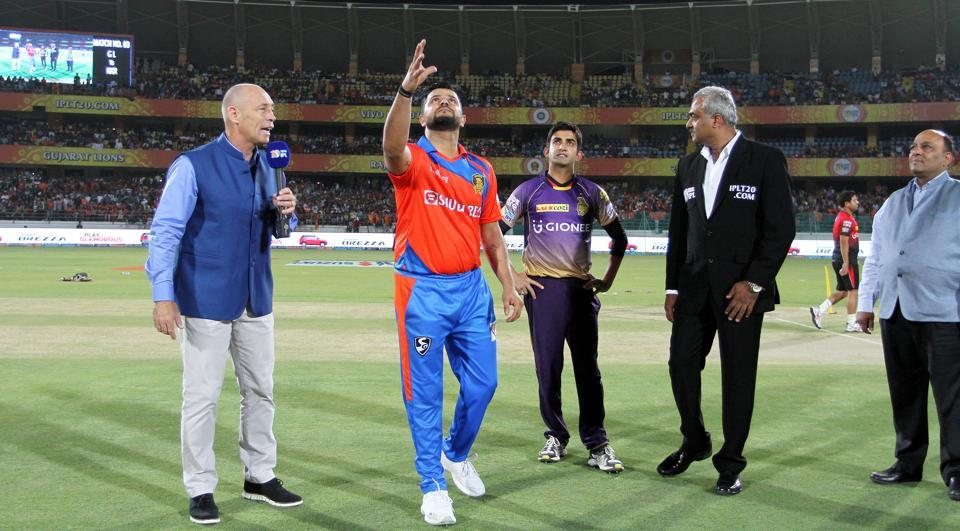 Gujarat Lions captain Suresh Raina and Kolkata Knight Riders captain Gautam Gambhir during the toss of the third match 2017 Indian Premier League at the Saurashtra Cricket Association Stadium in Rajkot on Friday. Live streaming and live cricket score of the T20 match is available online.