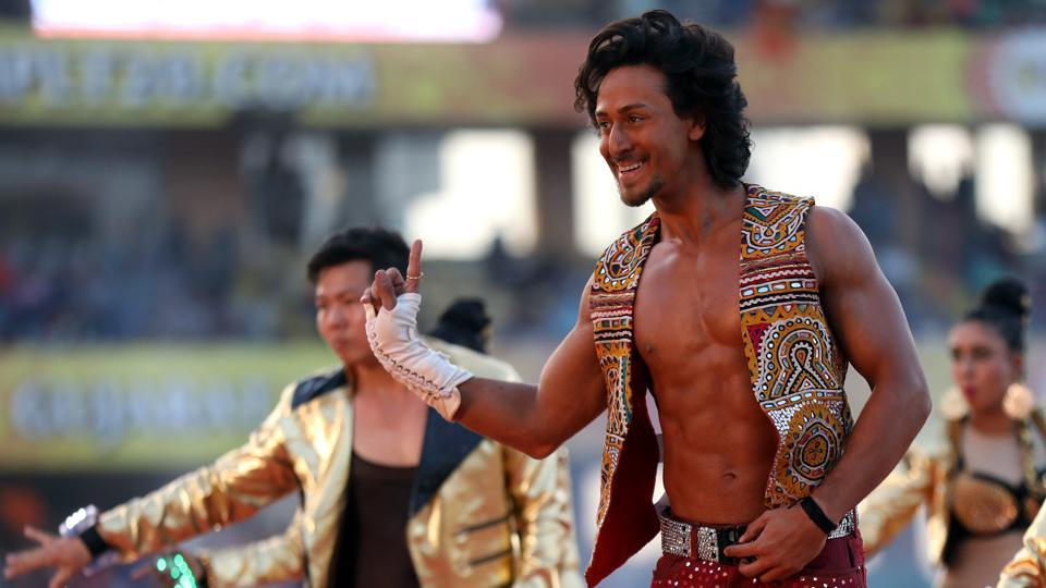 Tiger Shroff performs before the start of the IPL match between Gujarat Lions and Kolkata Knight Riders at the Saurashtra Cricket Association Stadium in Rajkot on Friday.  (bcci)
