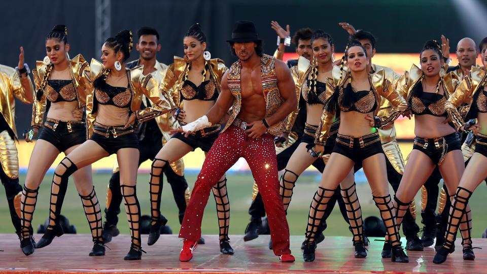 Tiger Shroff performs before the start of the Indian Premier League match between Gujarat Lions and Kolkata Knight Riders at the Saurashtra Cricket Association Stadium in Rajkot on Friday.  (bcci)